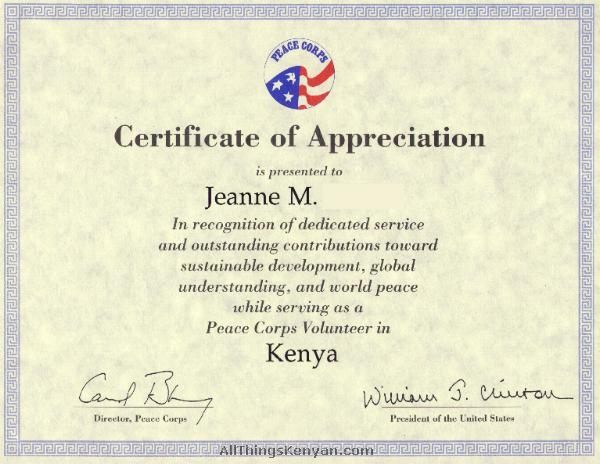 Certificate of appreciation volunteer fieldstation certificate of appreciation volunteer us peace corps id pictures from kenya all things kenyan yelopaper Image collections